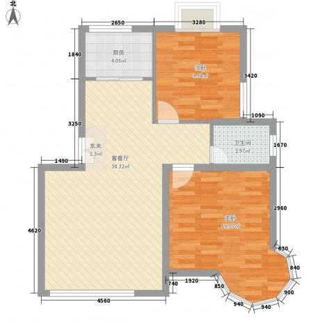 橘色生香2室1厅1卫1厨89.00㎡户型图