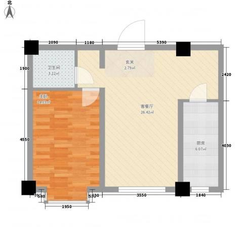 万豪名园1室1厅1卫1厨72.00㎡户型图
