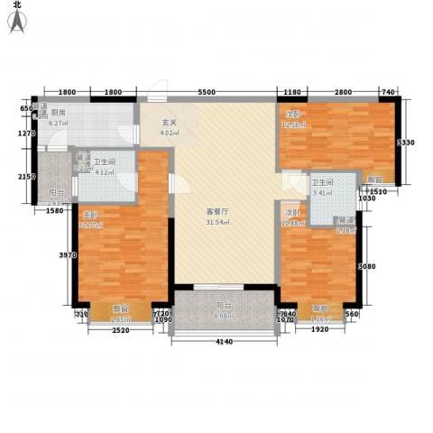 保利林语3室1厅2卫1厨122.00㎡户型图
