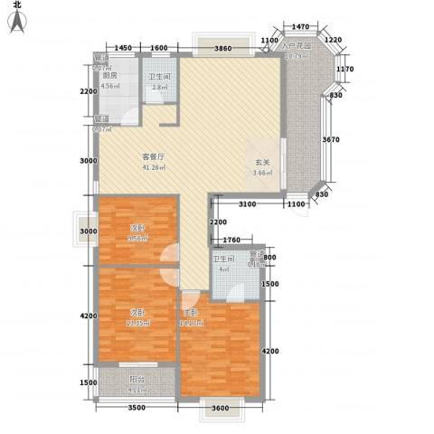 左海筑家3室1厅2卫1厨128.00㎡户型图