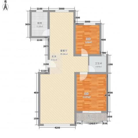 大院三期宽庭2室1厅1卫1厨105.00㎡户型图