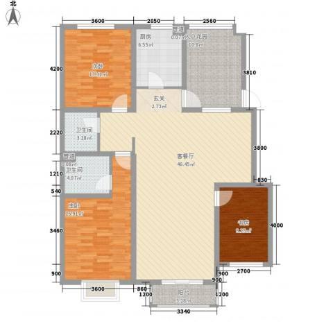 保利花园三期双河城3室1厅2卫1厨132.00㎡户型图