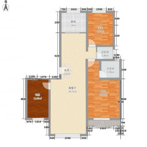 大院三期宽庭3室1厅2卫1厨116.00㎡户型图