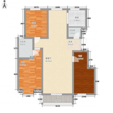 蓬莱花园3室1厅2卫1厨105.00㎡户型图