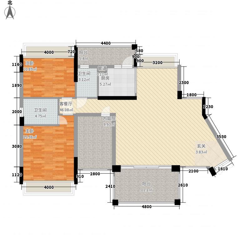新会骏景湾豪庭122.23㎡湖光水岸3幢01户型2室2厅2卫1厨