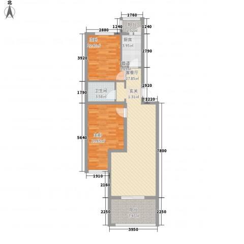 巴克寓所2室1厅1卫1厨87.00㎡户型图