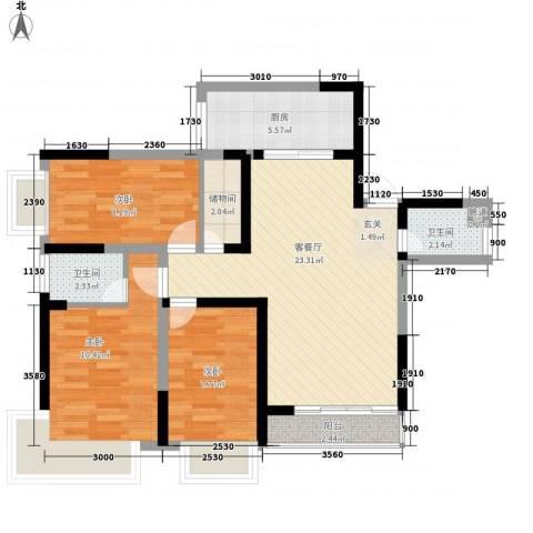 青年路邮电宿舍3室1厅2卫1厨95.00㎡户型图