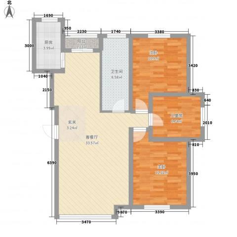 新华壹品3室1厅1卫1厨108.00㎡户型图