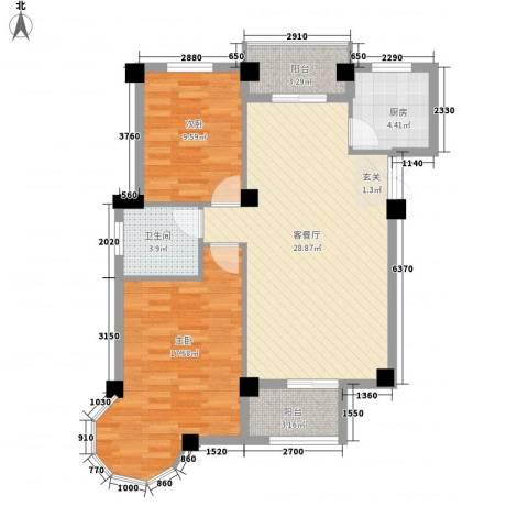 锦绣嘉园2室1厅1卫1厨98.00㎡户型图