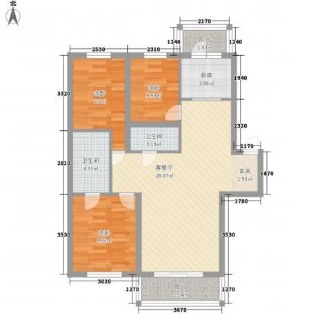 大自然家园3室1厅2卫1厨97.00㎡户型图