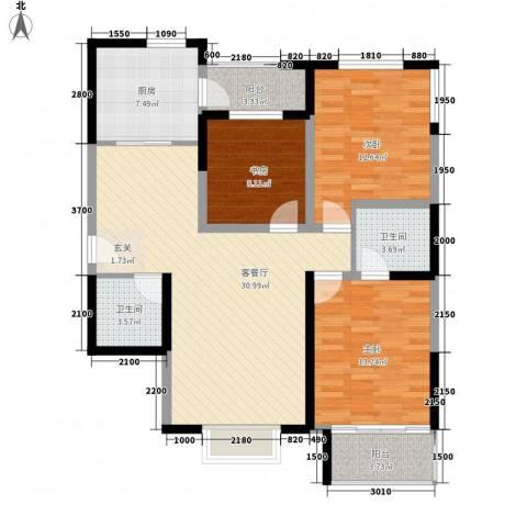 鸿洲・香榭左岸3室1厅2卫1厨86.79㎡户型图