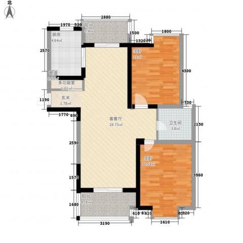世纪华城2室1厅1卫1厨106.00㎡户型图
