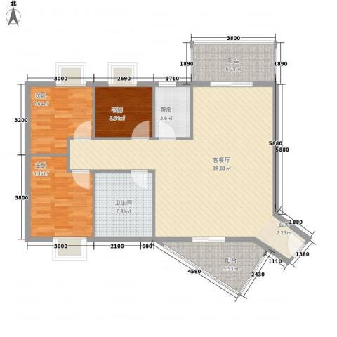 水木箐华3室1厅1卫1厨97.00㎡户型图