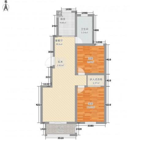 泰和名都2室1厅1卫1厨92.00㎡户型图