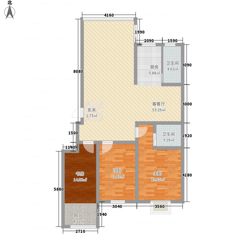 芙蓉世纪城127.00㎡一期8#标准层B1户型3室2厅2卫