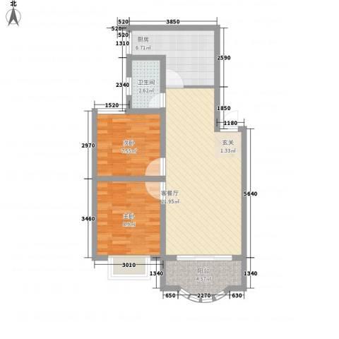 秀丽景苑2室1厅1卫1厨76.00㎡户型图