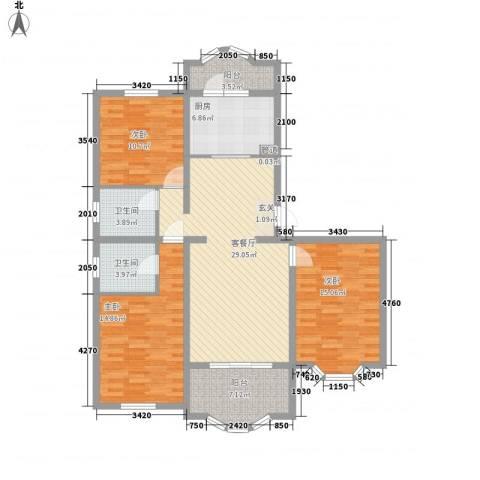 虹康花苑二期3室1厅2卫1厨137.00㎡户型图