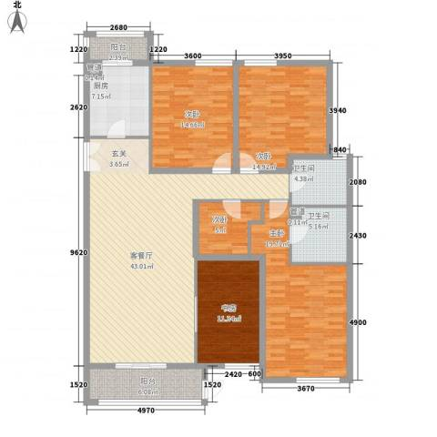 星河城四期5室1厅2卫1厨189.00㎡户型图