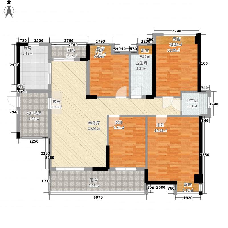保利林语137.00㎡E-1、2栋B户型4室2厅1卫1厨