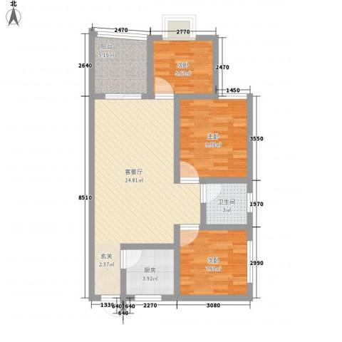 秀丽景苑3室1厅1卫1厨88.00㎡户型图