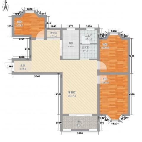 虹康花苑二期3室1厅1卫1厨120.00㎡户型图