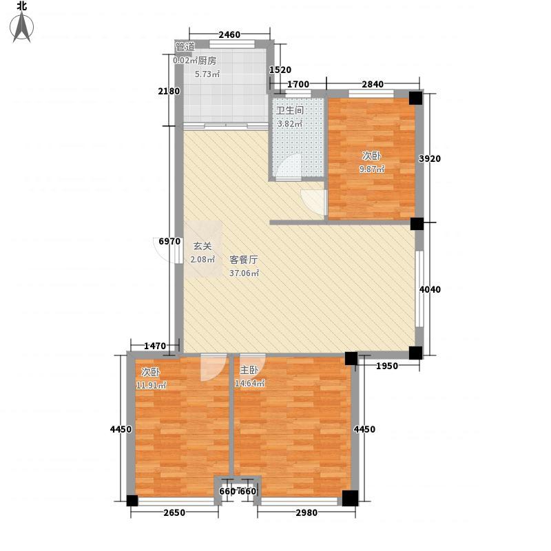 尚品名都二期115.46㎡E户型3室2厅1卫1厨户型3室2厅1卫1厨