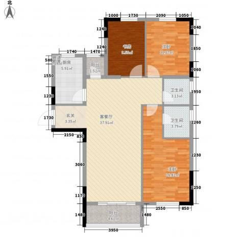 锦绣嘉园3室1厅2卫1厨130.00㎡户型图