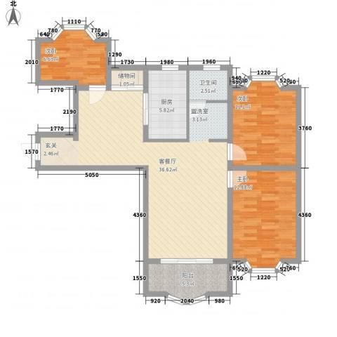 虹康花苑二期3室1厅1卫1厨124.00㎡户型图