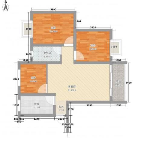 秀丽景苑3室1厅1卫1厨87.00㎡户型图