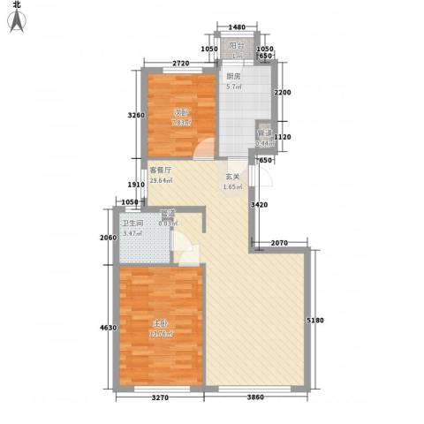 尚品名都二期2室1厅1卫1厨88.00㎡户型图