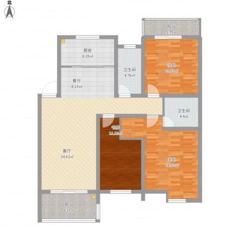 东海未名园3室1厅2卫1厨147.00㎡户型图