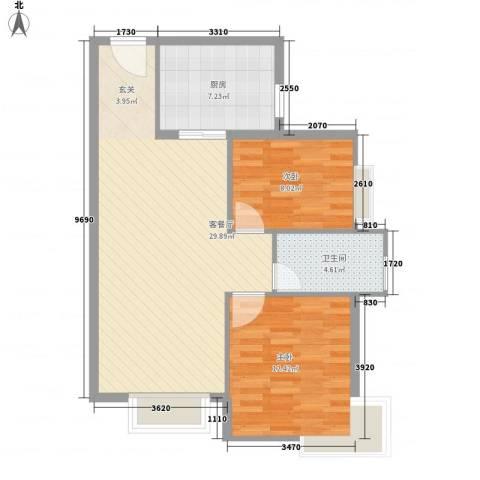 香堤小郡2季 美域2室1厅1卫1厨86.00㎡户型图