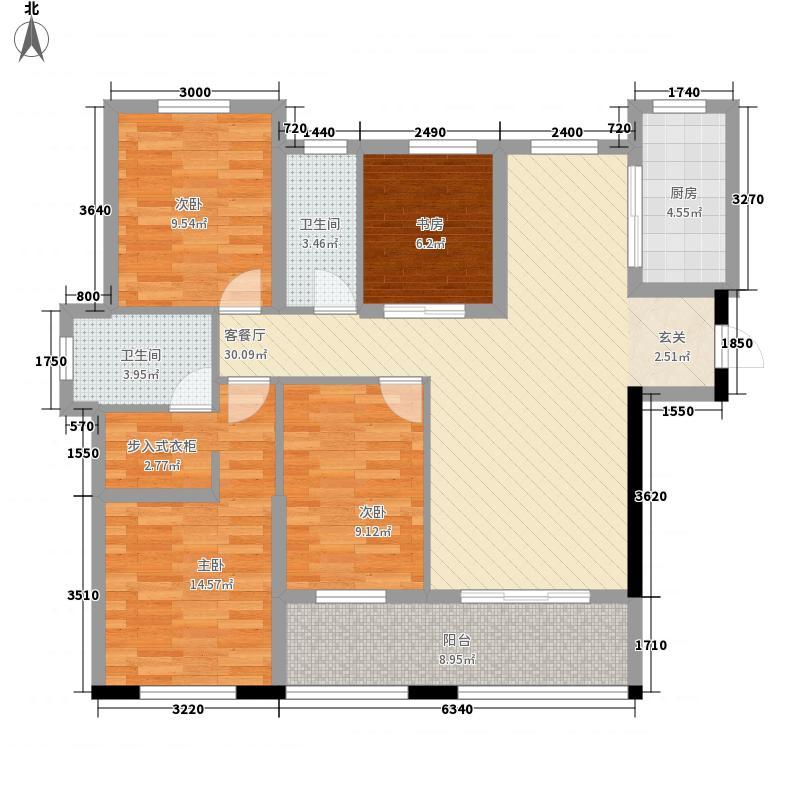 永泰・泰禾红峪131.00㎡平层-02户型4室2厅2卫1厨