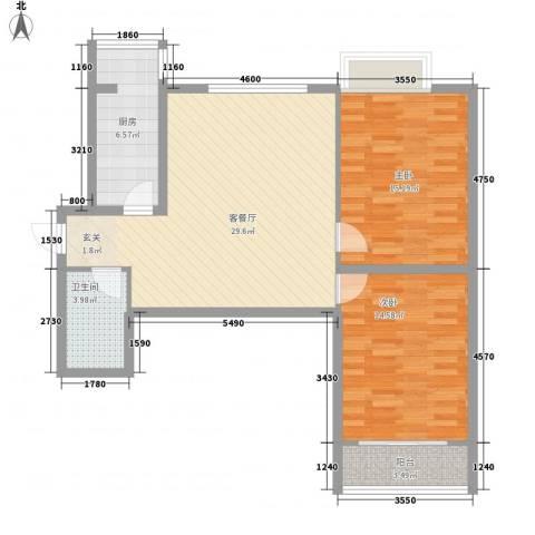 海�时代2室1厅1卫1厨106.00㎡户型图