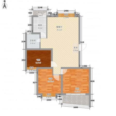 正大滨江瑞景家园3室1厅1卫1厨110.00㎡户型图