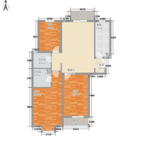 星河城四期3室1厅2卫1厨142.00㎡户型图