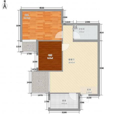 海�时代2室1厅1卫1厨89.00㎡户型图