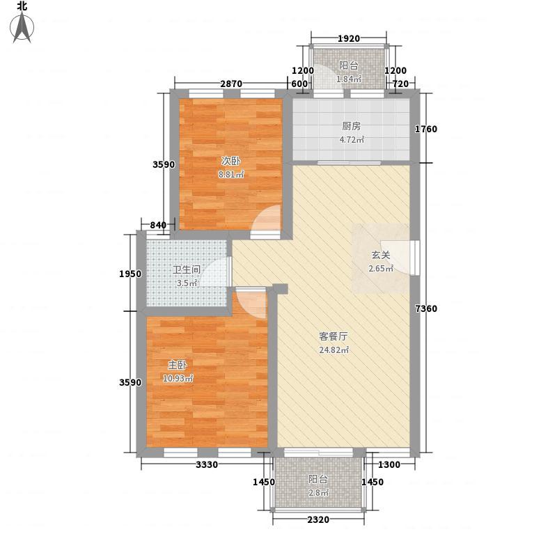 心泊家园82.00㎡心泊家园2室户型2室