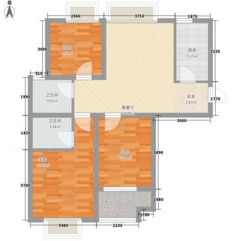 香堤小郡2季 美域3室1厅2卫1厨103.00㎡户型图