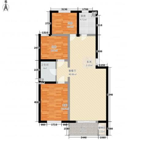 万豪名园3室1厅1卫1厨121.00㎡户型图