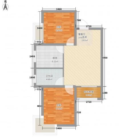 香堤小郡2季 美域2室1厅1卫1厨79.00㎡户型图