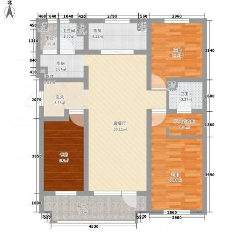 安兴苑3室1厅2卫1厨114.00㎡户型图
