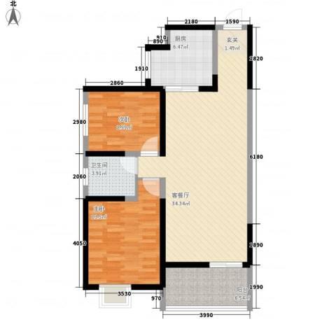 海�时代2室1厅1卫1厨95.00㎡户型图