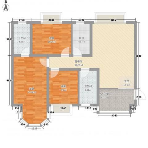 香堤小郡2季 美域3室1厅2卫1厨118.00㎡户型图