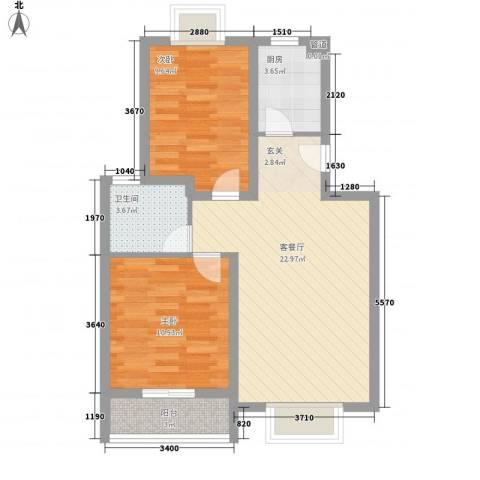 圣地亚哥2室1厅1卫1厨78.00㎡户型图