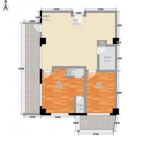 三亚克拉码头2室1厅2卫0厨142.00㎡户型图