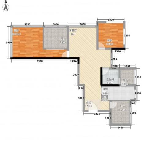 龙华花半里2室1厅1卫1厨85.28㎡户型图