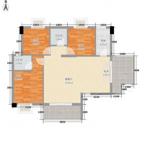 星汇峰3室1厅2卫1厨108.00㎡户型图