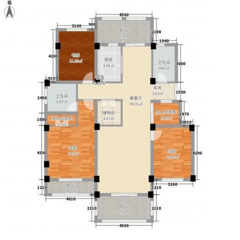 翠颐恬园3室1厅2卫1厨129.26㎡户型图