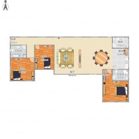 龙泉山庄3室1厅2卫1厨222.00㎡户型图